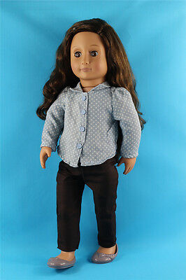 3in1 Set Polka Dots Shirt+Pants+Shoes Outfit Clothes For 18'' American Girl Doll