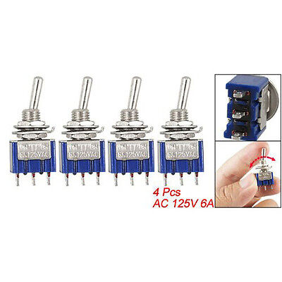 CflY 4 Pcs Blue AC 125V 6A 3 Pin SPDT On/Off/On 3 Position Mini Toggle Switch