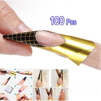 CY 100Golden Nail Art Tips Extension Forms Guide French DIY Tool Acrylic UV Gel