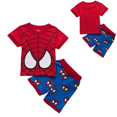 Spider-man Toddler Kids Baby Boys T-shirt +Pants Summer Casual Outfits Clothes