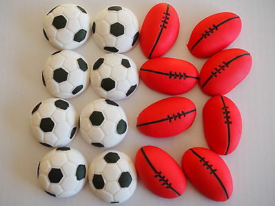 Soccer & Footballs CUPCAKE TOPPERS Birthday Party Cake EDIBLE SPORTS BALLS