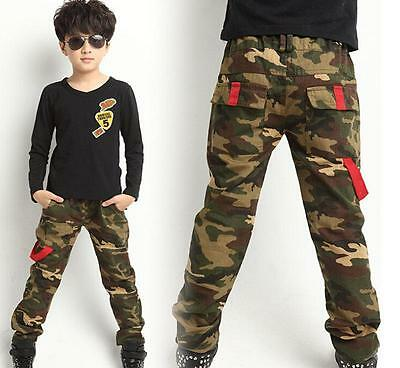 Hot New Camouflage Casual Kids Boys Camo Cargo Childs Pants Trousers 4 Regular