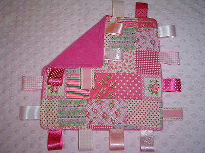 Patchwork and Cerise Fleece Taggy/Comforter