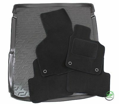 VW PASSAT B6 / B7 ESTATE 2005-2015 Tailored black floor car mats + boot tray mat