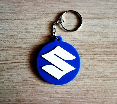 SUZUKI Keychain Keyring Blue White Rubber Motorcycle Car Collectible Gift new