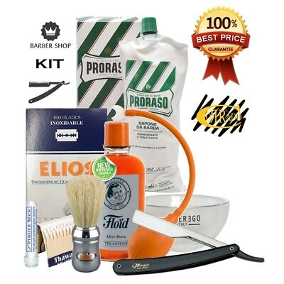 Kit Rasatura Professionale Old Style Barber Shop - Rasoio Mano Libera - Barbiere