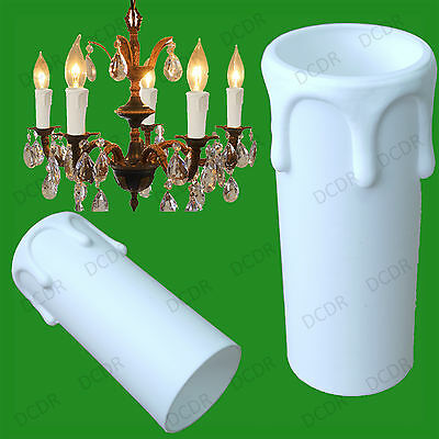 10x White Drip Candle Wax Effect Chandelier Light Bulb Cover Sleeve 55mm x 27mm