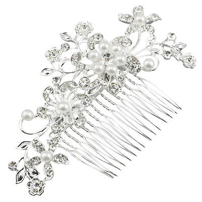 Cfly889 Fascinating Bridal Crystal Pearl Diamante Hair Comb Clip