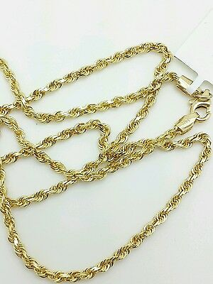 14k Solid Yellow Gold Diamond Cut Twist Rope Necklace Pendant Chain 2.25mm 16-30