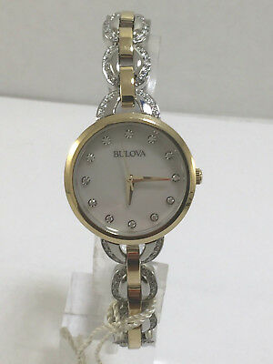 Women's Bulova 98L206 Two Tone Stainless Crystal Accented MOP Dial Watch
