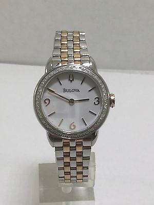 Women's Bulova 98R182 Two Tone Stainless Diamond Accented White Dial Watch
