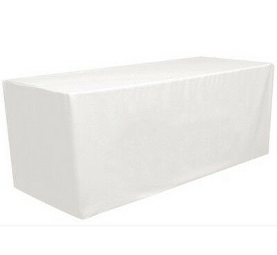 8' ft. Fitted Polyester Tablecloth Table Cover Wedding Banquet Party White