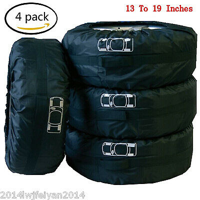 """Car Spare Tire Storage Protection Bag 13""""-19"""" Wheel Tyre Carry Tote Cover 4 Pcs"""