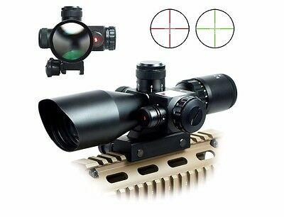 2.5-10x40 Tactical Rifle Scope Red Laser Dual illuminated Mil-dot w/ Rail Mount