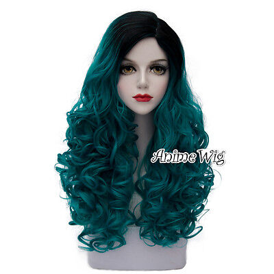 Lolita Turquoise Green Mixed Black Long 60CM Curly Fashion Cosplay Wig + Wig Cap