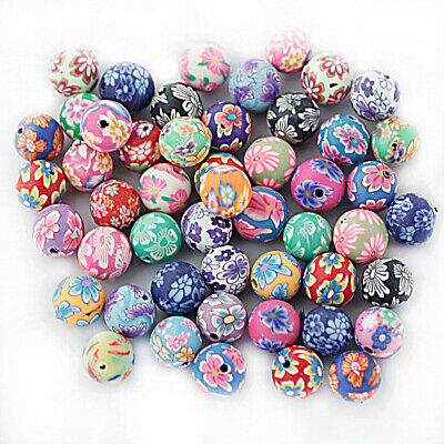 50Pcs Mixed Polymer Clay Beads Craft Jewelry Making DIY Bracelet Necklace