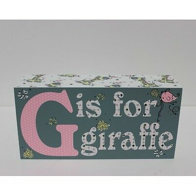Carte Blanche Blossom & Buds G is for Giraffe Plock -Girls Decor Block Baby Gift
