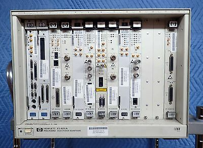 HP / AGILENT E1401A HIGH POWER VXI MAINFRAME 75000 SERIES w 11 PLUG IN MODULES