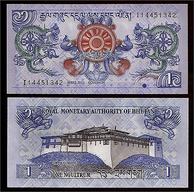 World Paper Money - Bhutan 1 Ngultrum 2013 P27 @ Crisp UNC