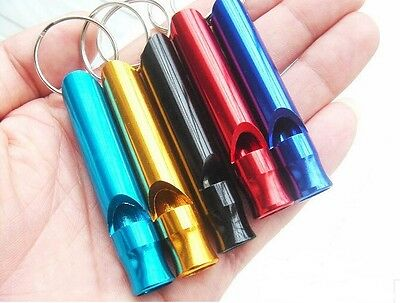 1, 2 or 4 Mini Aluminium Outdoor Whistle Emergency Survival Hunting Camp Key