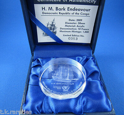 2009 DR Congo 50mm Acrylic 10 Franc coin in box with cert. H.M. Bark Endeavour