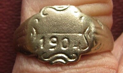 Antique Artifact > Bronze Finger Ring dated 1904 SZ: 12 US 21.5 mm 14362 DR
