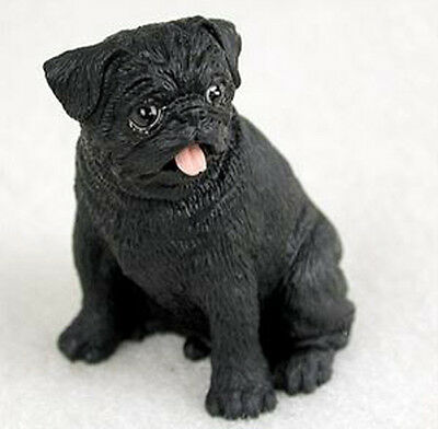 PUG BLACK TINY ONES DOG Figurine Statue Resin Pet Lovers Gift