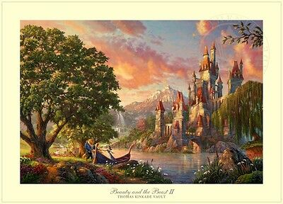 Beauty and the Beast Dancing in the Moonlight Thomas Kinkade SN 295 Paper 18x27