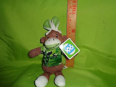 SOCK MONKEY WITH green BUNNY EARS and camouflage PLUSH STUFFED ANIMAL toy doll