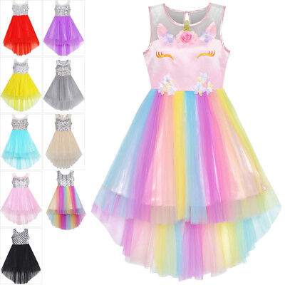 Flower Girl Dress Sequin Unicorn Party Wedding Princess Tulle Size 7-14 Pageant
