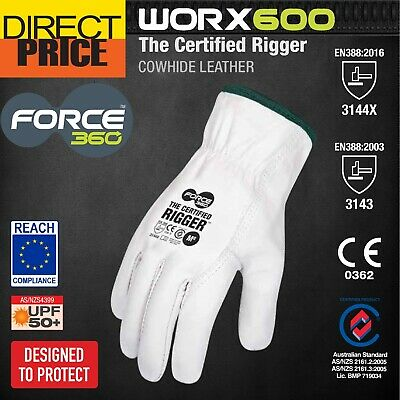 Maxisafe Riggers Gloves Premium Cow Grain Leather Soft White General Purpose