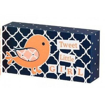 Carte Blanche Blossom & Buds Oh So Tweet Bird Plock - Navy - Peach Decor Block