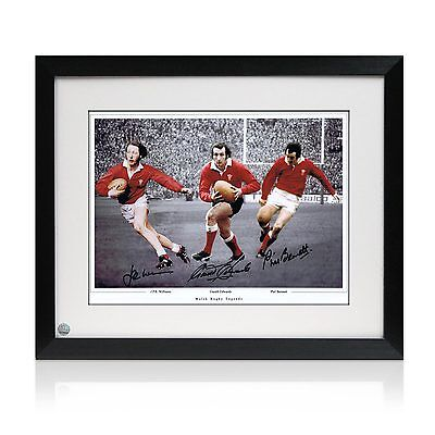 Framed Gareth Edwards JPR Williams Phil Bennett Signed Wales Rugby Photograph