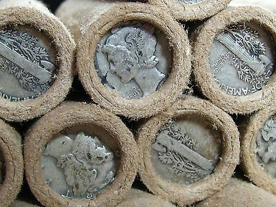 UNSEARCHED!! Wheat Penny Roll Capped with Mercury Dimes on Both Ends