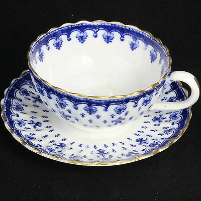 Vintage Spode Copeland Fleur de Lys Blue Gold Trim Cup and Saucer, Blue