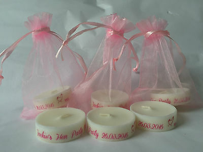 3 + Personalised Candle Tealight Hen Party Favours Available In 18 Colours