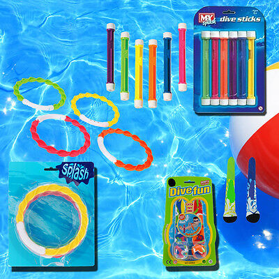 Childrens Dive Balls Rings Weighted Sticks Swim Water Fun Games Training Aid