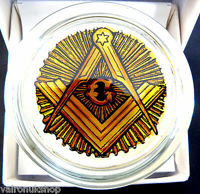Superb Masonic Square And Compass Glass Paperweight In Box - Hand Painted In Uk