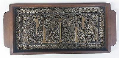 Vintage Greek Traditional Handcrafted Bronze and Wooden Serving Tray