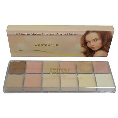 SAFFRON contour kit-12 shades cream foundation cover & concealer palette boxed