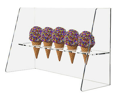 Ice Cream Cone Holder Display with Guard Clear Acrylic