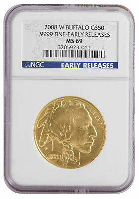2008-W $50 1oz American Gold Buffalo .9999 BU NGC MS69 Early Release Blue Label