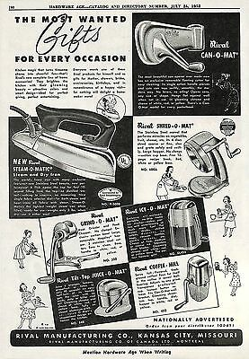 1952 Rival Can-O-Mat Can Opener & Ice-O-Mat & Juice-O-Mat Kitchen Appliance Ad