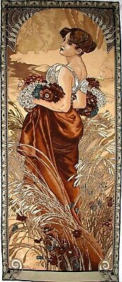 "Alphonse Mucha ""summer"" 60"" X 25"" Fully Lined Belgian Tapestry Wall Hanging"