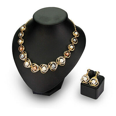 Gold Color Pearl Rhinestone Pendant Necklace Earring Fashion Wedding Jewelry set