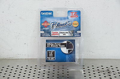"""Brother P-touch TZ-335 Label Tape White Print on Black Tape Genuine 1/2"""""""