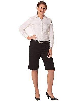 New Ladies Womens Polyester Stretch Flexi Waist Nurse Casual Work Utility Shorts