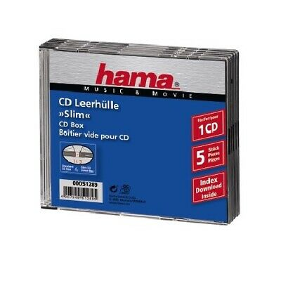 Hama 5x CD-Hülle CD-ROM BluRay Slimline Leerhülle DVD-Hüllen 5er Pack Jewel Case
