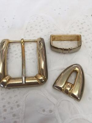 Vintage Gold Belt Buckle 3 Piece Set  (metal )