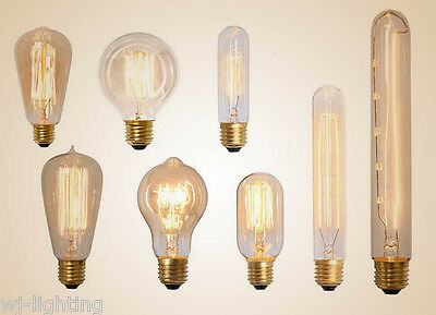 Edison Filament Bulb Vintage Industrial Retro Light Lamp E27 Screw 220V Dimmable